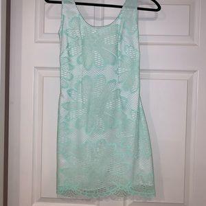 Lily Pulitzer Shift Lace Overlay Dress Seafoam